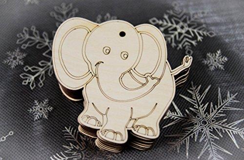 10x Elefant blank Form Holz Tier Basteln Malen Dekoration Wohnen Aufhängen (A-4)