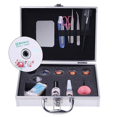 wlgreatsp Kit d'extension des cils avec boîtier en argent Colle False Loose EyeLash Ensemble de maquillage Lashes Portab