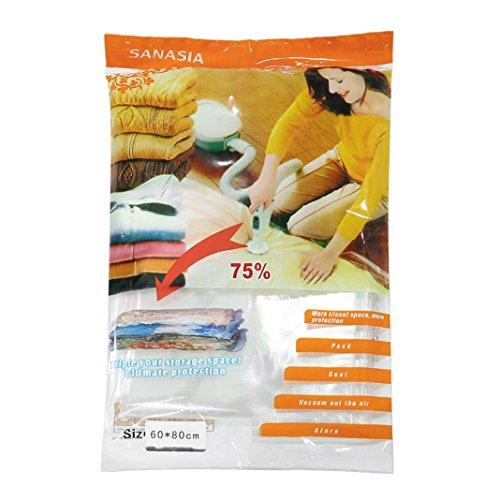 Vakuumbeutel, Zarupeng Aufbewahrungsbeutel Kleiderbeutel Vakuum-Platzsparer für Betten und Kleidung ,Space Saver Storage Seal Compressed Organizer Bag (1, 60x80 cm)