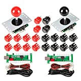EG STARTS 2 jugadores Arcade Game Kit Piezas USB Pc Joystick para Mame Game DIY USB Encoder + 2x 8 Way stick + 20 Botones pulsadores Rojo + Negro Kits Soporte Windows System & Raspberry pi