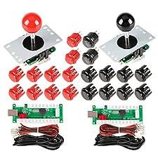 EG STARTS 2 jugadores Arcade Game Kit Piezas USB Pc Joystick para Mame Game DIY USB Encoder + 2x 8 Way stick + 20 Botones pulsadores Rojo + Negro Kits Soporte Windows System & Raspberry pi