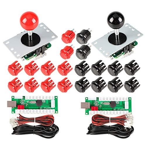 EG STARTS 2 Spieler Arcade Spiel Kit Teil USB Pc Joystick für Mame Spiel DIY Null Verzögerung USB Encoder + 2x 5pin 8 Way Stick + 20 Drucktasten Rot + Schwarz Kits Support Windows & Raspberry Pi Video-encoder