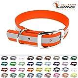 LENNIE BioThane Halsband, Dornschnalle, 25 mm breit, Größe 32-40 cm, Neon-Orange-Reflex, Aufdruck möglich, 4 Größen, 48 Farben, Hundehalsband
