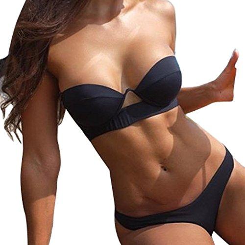 Trada Einzigartiges Design Mode 2018 Sommer Frauen-Reizvoller Aufgefüllt Bikini-Satz Push-up Gepolsterter Badebekleidungs-Badeanzug, der Feste Beachwear badet Bademode Beachwear (M, Schwarz)