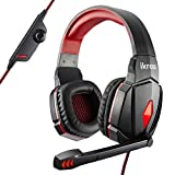 iKross S4000 Gaming Headphone Headset with Folding Microphone, In-Line Volume Control, Red LED Lights for PC Computer Gamers