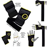 mmasport Gel-Handschuhe mit Bandagen und Handschuhen, gepolstert für Le Mani aus Baumwolle, Schwarz, M