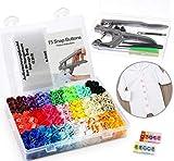 Cztech 400pcs Boutons Pressions Plastiques T5 24 mm 20 Coloris,Pression Kit de Pince en Métal avec 2 Rangement de Boîte