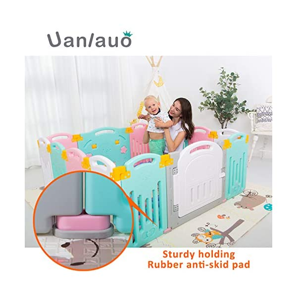 Foldable Baby Playpen Kids Activity Centre Safety Play Yard Home Indoor Outdoor New Version Uanlauo MOM'S LIFESAVER: Keep baby safe in there play centre when mom/dad needs to cook, clean up, go to the bathroom, etc. Foldable & Easy Packing: Designed with a simple fold and go deign. Easy to set up and take down within seconds.Convenient both indoor and outdoors. STURDY HOLDING: Specially designed rubber feet underneath of the yard so the parts don't go sliding around. 5