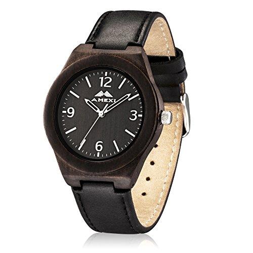 AMEXI orologi da uomo classici fatti a mano in cinturino dell'orologio in pelle nera e cassa di legno orologi impostati