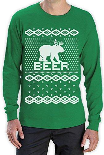 BEAR + DEER = BEER -- Witziger Weihnachtspulli Langarm T-Shirt Grün