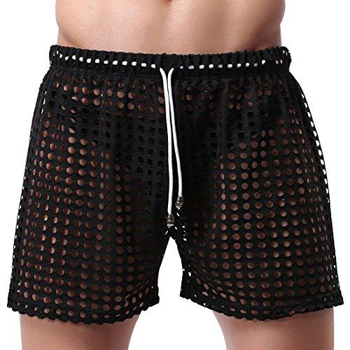 YiZYiF Sexy Herren Bermudas Shorts Schnürung Aushöhlen Sommer Shorts Strand Hosen Pants Panty S M L Schwarz L (Herren Shorts Transparent)