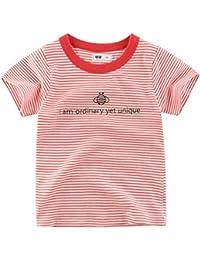 22123df34 Baby Boy Niño Ropa De Verano Camiseta De Manga Corta Camiseta Delgada Niños  Raya Camiseta Para