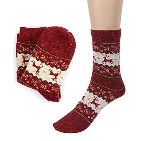 High Quality LCLrute Christmas Deer Design Casual Knit Wool Socks