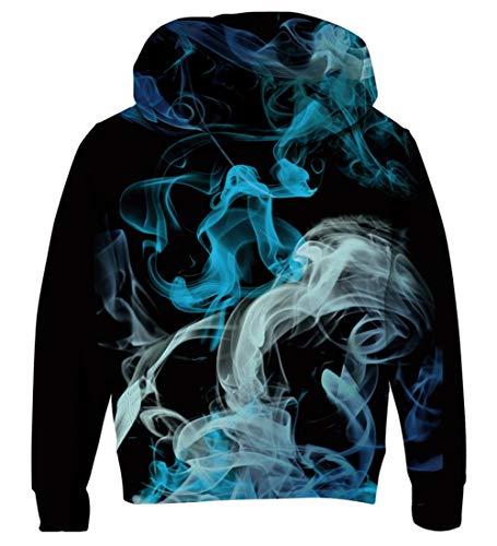 AIDEAONE Jungen Mädchen 3D Smoke Drucken Sweatshirts Pullover Kinder Hoodies Kangaroo Pocket Fleece Pullover Hoodie 5-6 Jahre -