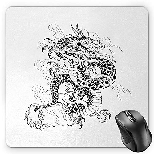 fc7a4faa6 BGLKCS Japanese Dragon Mouse Pad Tapis De Souris, Sketch Artwork Style  Ancient Mighty Figure with