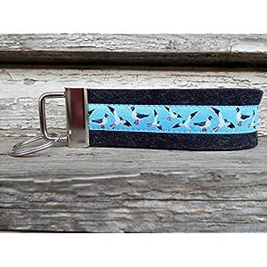 Schlüsselanhänger Schlüsselband Wollfilz schwarz grau Möwen hellblau maritim!