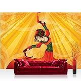 Fototapete 254x184 cm PREMIUM Wand Foto Tapete Wand Bild Papiertapete - Illustrationen Tapete Ornamente Tänzerin Kunst Orient Frau Mädchen Tanz orange - no. 973