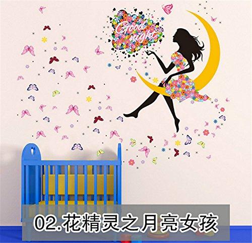 yanqiao Pastoral Hintergrund Flower Fairy auf dem Mond Wandsticker Aufkleber für Wohnzimmer babyroom Kindergarten TV Hintergrund abnehmbar Vinyl Aufkleber Art Home Dekorieren Größe 145x 169,9cm - (Cute Wallpaper Hintergründe Halloween)