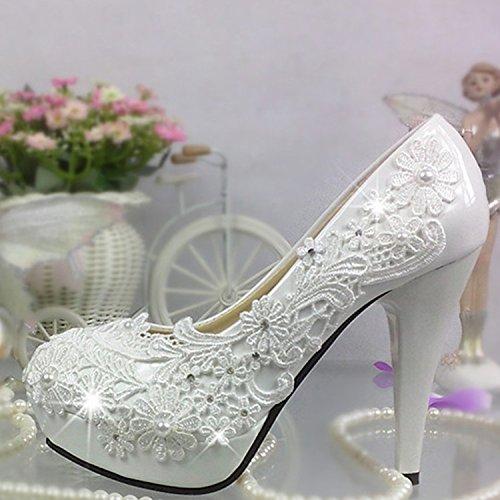 JINGXINSTORE Pizzo Bianco perla Strass scarpe matrimonio con acqua alta piattaforma fiori di cristallo scarpe Nuziale Bianco