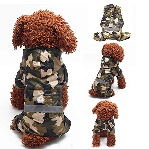 Liboom Reflektierende Hunderegenmantel Jumpsuit mit Kapuze und D Ring Wasserdicht Atmungsaktiv Haustier Regenkleidung Mesh Gefüttert mit 4 Ärmeln für Mittel Große Hunde Camo XL -