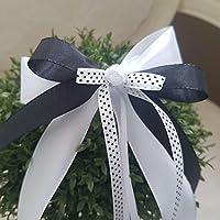 10 Stück Autoschleifen - Antennenschleifen - Spiegelschleifen Hochzeit Weiß-Schwarz m. Dots - Rockabilly