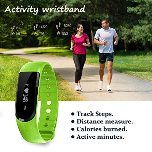 Fitness Tracker with Heart Rate Monitor, Hembeer Venus V3 Smart Bracelet Pedometer Activity Tracker Sleep monitor Bluetooth 4.0 Wristband with app for iOS & Android Smartphone, Green
