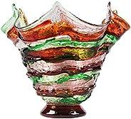YourMurano Vaso in vetro di Murano, vaso corto, vaso colorato verde e bronzo, vaso dal design moderno, fatto a