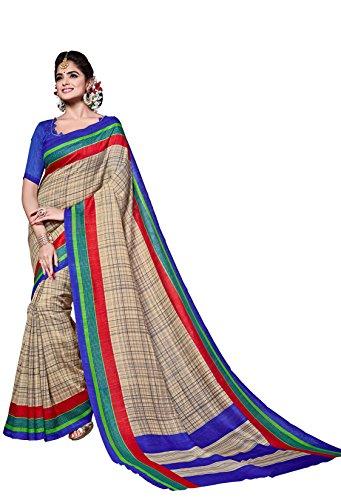 Classic Enterprise Sarees Daily Wear Stripe & Geometric Print Beige Color Cotton Sari With Blouse (Malgudi-4014)