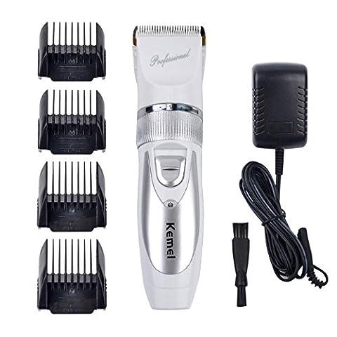 inkint Rechargeable Tondeuse Cheveux/Hair Clipper Avec 5 Modes Réglables(0.8mm / 1.1mm / 1.4mm / 1.7mm / 2.0mm)+4*Peignes Limités (3mm / 6mm / 9mm / 12mm)+1*Brosse de Nettoyage