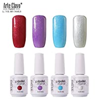 Arte Clavo UV Led Gel Nail Polish Set - 39 of 15ml 4Pcs Soak Off Varnish Pastel Glittery Colors Gift Set for Nail Design Manicure Pedicure Nail Art Beauty Salon Home Starters and Practice Use