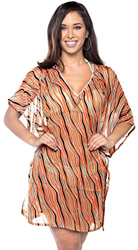 LA LEELA verschleiern Strand leichte Chiffon Wellen v Frauen Hals Boho Kaftan Tunika Damen Kimono lässig Abend Bademode Sundress Bikini Pool Resort Kleid Plus Orange Poncho -