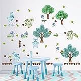 DecalMile Wandtattoo Kinderzimmer Wald Baum und Tiere Eichhörnchen Hase Wandsticker Wandaufkleber Wanddeko für Babyzimmer Schlafzimmer Wohnzimmer