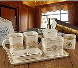 Cinque pezzi continentale bagno bagno in ceramica set di lavaggio-bagno fornisce nuove e innovative spazzolino colluttorio tazze