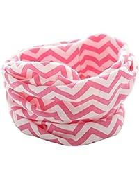 Butterme Bebé Niños Niñas O Ring Neck Warmer Cotton Collar Bufandas Pañuelos de Cuello(Rosa roja-banda de ondas)