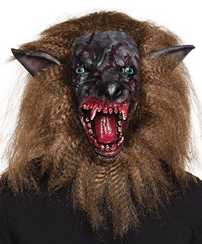 erdbeerclown- Halloween Kostüm Latex Maske Blutiger Horror Werwolf Kopf mit Haaren Erwachsene Maske , (Werwolf Kostüme Qualität Film)