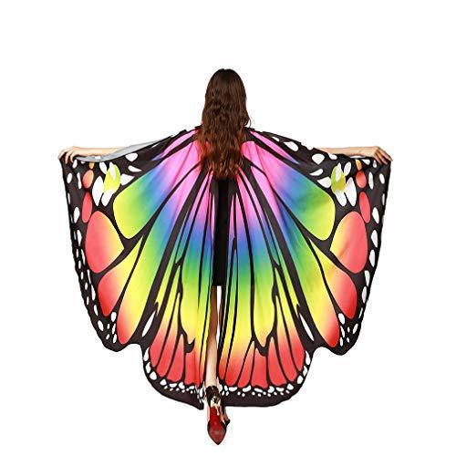 TMEOG Papillon ChâLes, Femmes Ailes De Papillon Echarpes ChâLe Dames Nymphe Pixie Cosplay Party Poncho Accessoires Costume (Arc en Ciel)