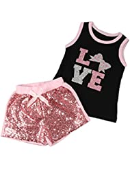 puseky infantil Baby Girl Blinking camiseta Tops + Pantalones Cortos De Lentejuelas Outfit Ropa