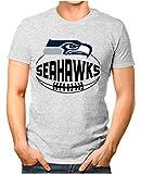 OM3® - Seattle-Ball - T-Shirt | Herren | American Football Shirt | 4XL, Grau Meliert