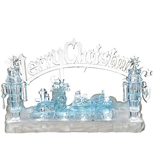 WeRChristmas Musical LED Merry Christmas Zug Szene Dekoration, Acryl, mehrfarbig, 42cm (Ornament Christmas Animated Tree)
