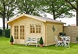 Outdoor Gartenhaus / Blockbohlenhaus Montana 1 Sockelmaß: 390 x 300 cm Dachstand: 438 x 370 cm Wandstärke: 40 mm Rauminhalt: 28 cbm Ausführung: naturbelassen Material: Massivholz