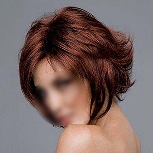 LUFA Charmante kurze gewellte Haar Perücken Pixie Cut Synthetische Haar Burgund Perücken für Frauen (Pixie Cut Perücken)