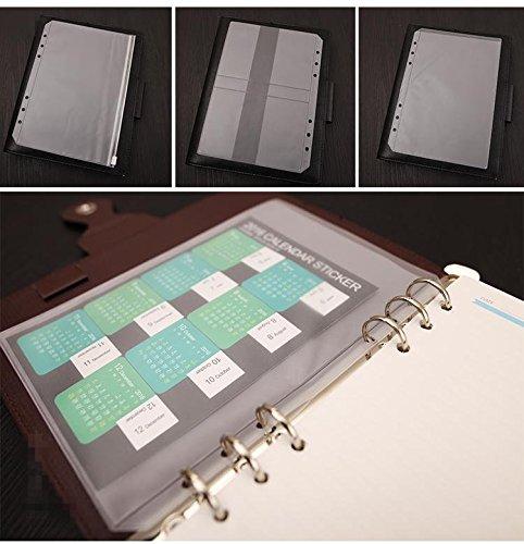 chris-wang 1klar Kunststoff, A4/A5/A6/A7/B5Cover rund Ring View Binder Datei Ordner für lose Leaf Tabelle Protectors/Notebook Refill (A4, 3-Loch-) A5 Size Binder Pockets durchsichtig