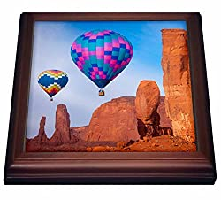 3dRose trv_210287_1 Hot Air Balloons Monument Valley Navajo Tribal Park Arizona USA. Trivet with Ceramic Tile, 8 x 8, Natural