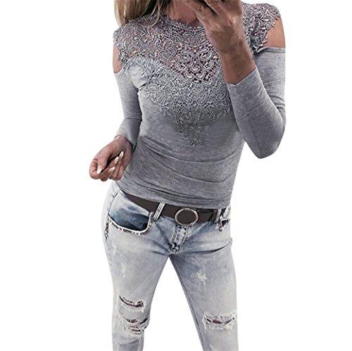Vovotrade ❀❀Frau Lange Ärmel Mit Kapuze Sweatshirts Charmant Damen Lange Ärmel O Hals Spitze Patchwork Sweatshirt Bluse Zur Seite fahren (Grau, Size:L) (Slim-feste Kapuze Hals)