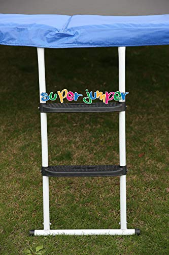 Super Jumper Trampolin Leiter 98 cm | Treppe mit 2 Breiten Stufen 58 cm | praktischer Einstieg für große Gartentrampoline | Weiss | GS und TÜV Rheinland Zertifiziert