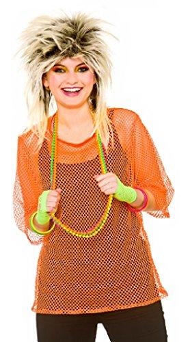 co Neon Orange Mesh Top Fancy Dress Accessory - Plus Size (Orange Adult Kostüme)