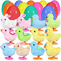 Unomor 12 Pack Easter Eggs Stuffers, 12 Colorful Surprise Easter Eggs Fillers with 12 Wind-Up Bunnies and Chicken Toys for Easter Baskets Stuffers - 3.9Inch