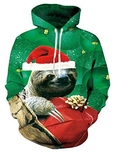 Pocket Hoodie, Chicolife Mens Womens Unisex lustige Faultier nehmen Geschenk Jumper Tier grafische Pullover Tunnelzug Hoodies Santa Sweatshirts Langarm mit Kapuze Medium grün (Geschenk-karte E-mail-lieferung)