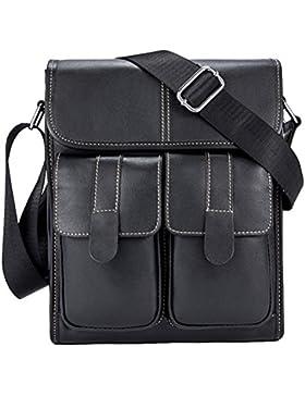 Zhhlinyuan dauerhaft Mens Women Lightweight Soft Small Adjustable First Cowhide Leather Crossbody Shoulder Bag...