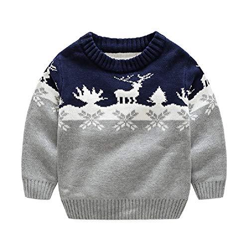G-Kids Kinder Jungen Strickjacke Strickpullover Baby Weihnachten Elch Langram Rundals Cardigan Sweatshirt Pulli Grau 110
